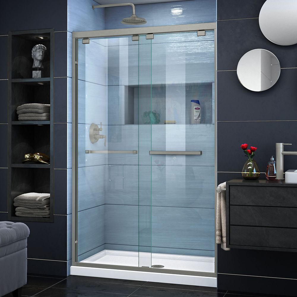 Encore 32 Inch D X 48 Inch W Shower Door In Brushed Nickel And Semi Frameless Shower Doors Frameless Sliding Shower Doors