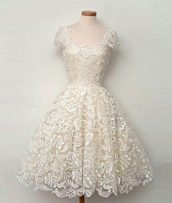 11126a6be1 Cute white lace short prom dress