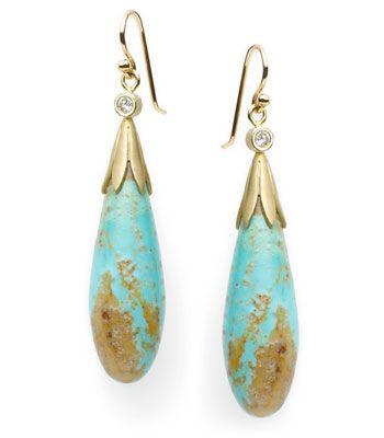 JANE BOHAN   Gold, Turquoise, and Diamond Earrings   {ʝυℓιє'ѕ đιåмσиđѕ&ρєåɾℓѕ}