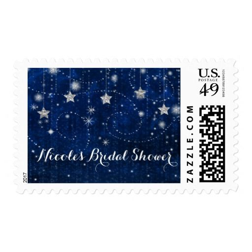 bright blue silver starry celestial invitations postage stamp