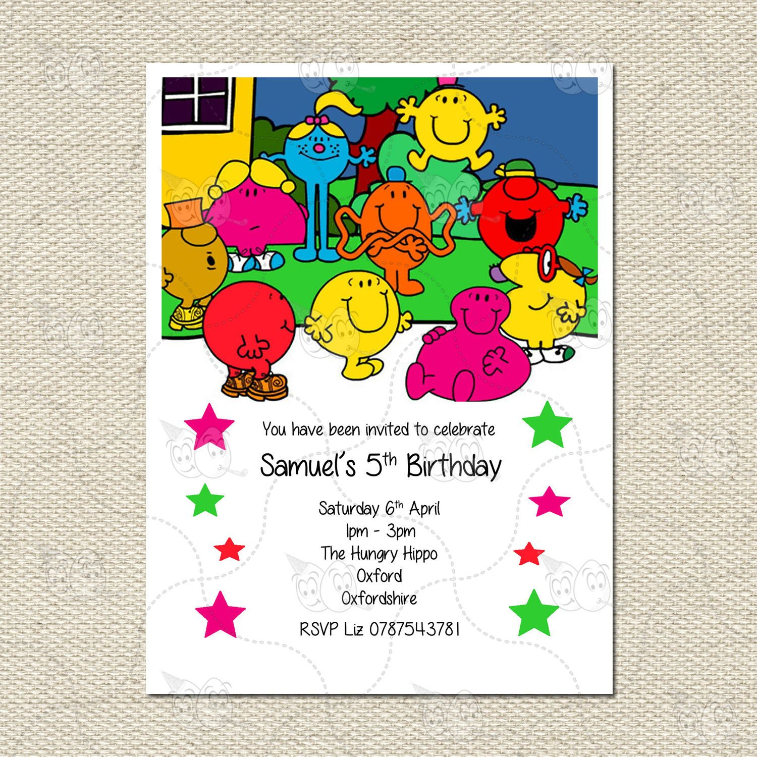 Personalised Mr Men Characters Party Birthday Invites Inc. Envelopes ...