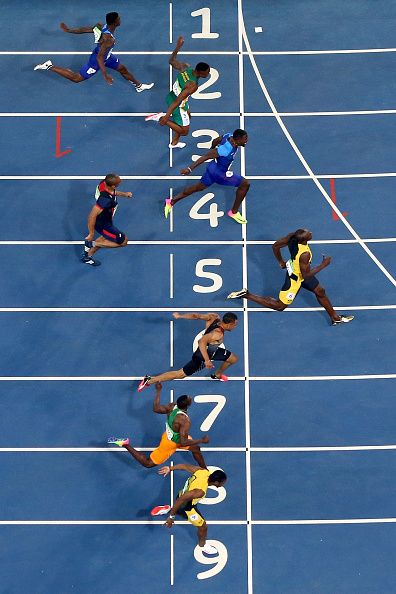 Usain Bolt of Jamaica wins the Mens 100m final on Day 9 of ...