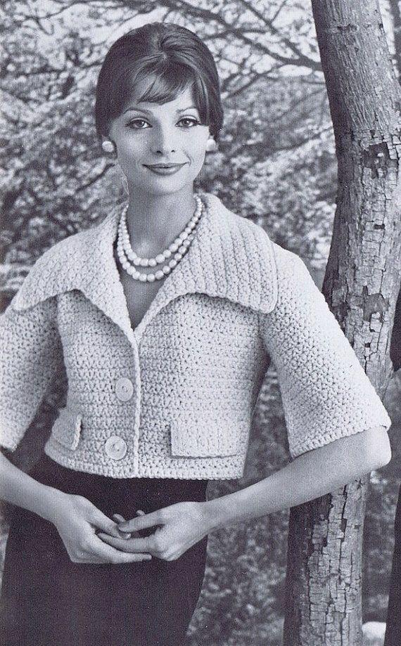 Bell Sleeve Bolero Vintage Crochet Pattern PDF, 1950s | 60er, 20er ...