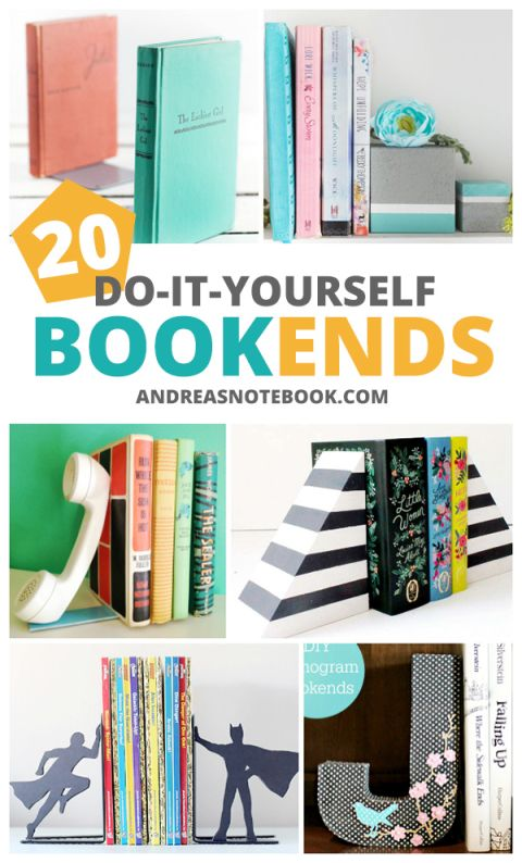 exceptional Homemade Bookends Part - 10: 20 DIY bookends tutorials - make your own bookends