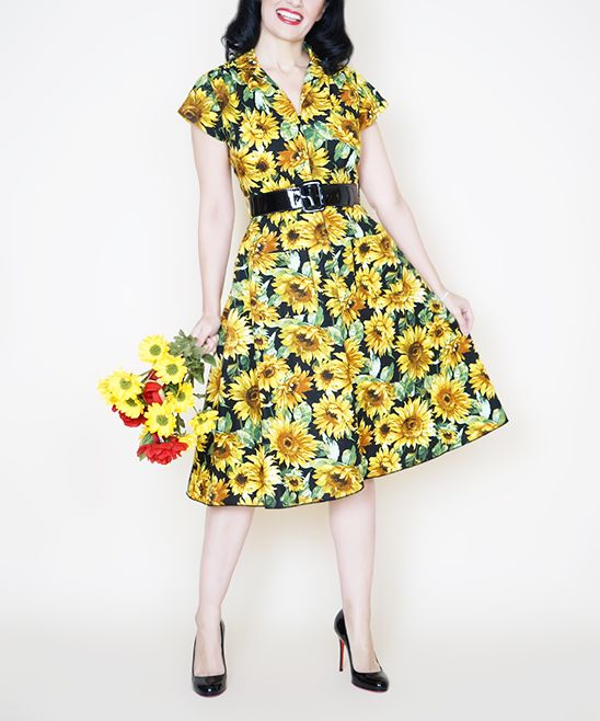Black & Yellow Sunflower Rachel Dress