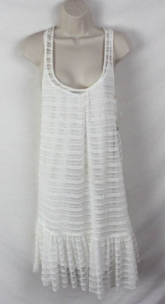 e24e34ef8 Cute St Tropez Macy s Voyage Mediterranee Dress S size New Ivory Net Lace  Over Cami Stretch Summer