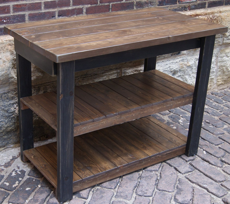 Black Kitchen Island For Sale: Plank+Top+Black+Kitchen+Island+Rustic+Kitchen+by