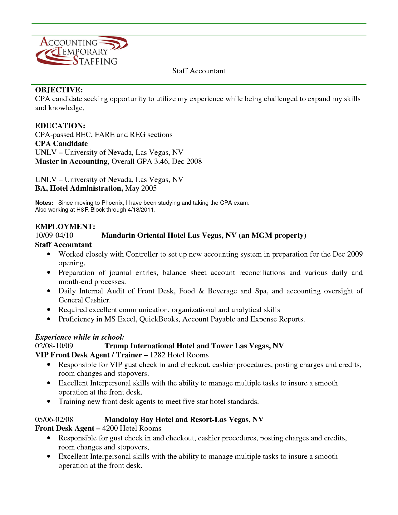 Modern Cpa Candidate Resume Objective Picture Collection ...