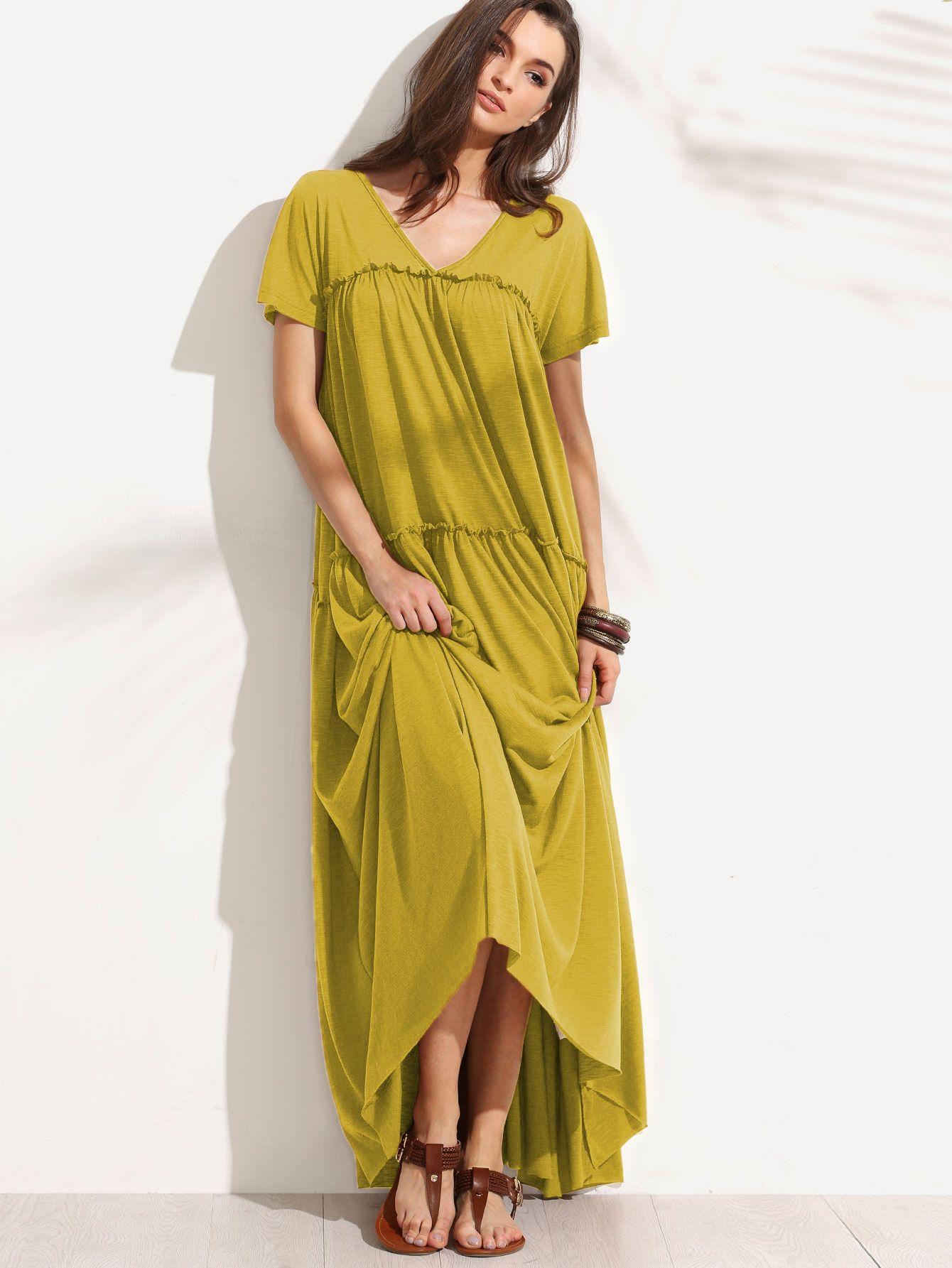 062637d6c57b Mustard Double V Neck Frilled Tent Dress Vestiti Per Le Donne