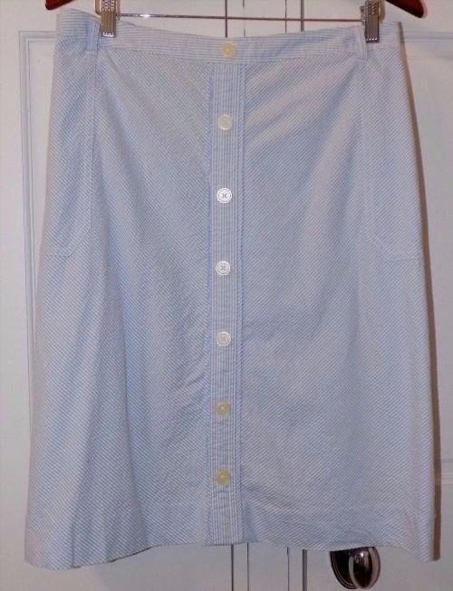 25.00$  Buy here - http://vizsa.justgood.pw/vig/item.php?t=fjzz3x52485 - Tommy Hilfiger Skirt Seersucker Skirt Plus Size 24 Blue White Striped Nautical 25.00$