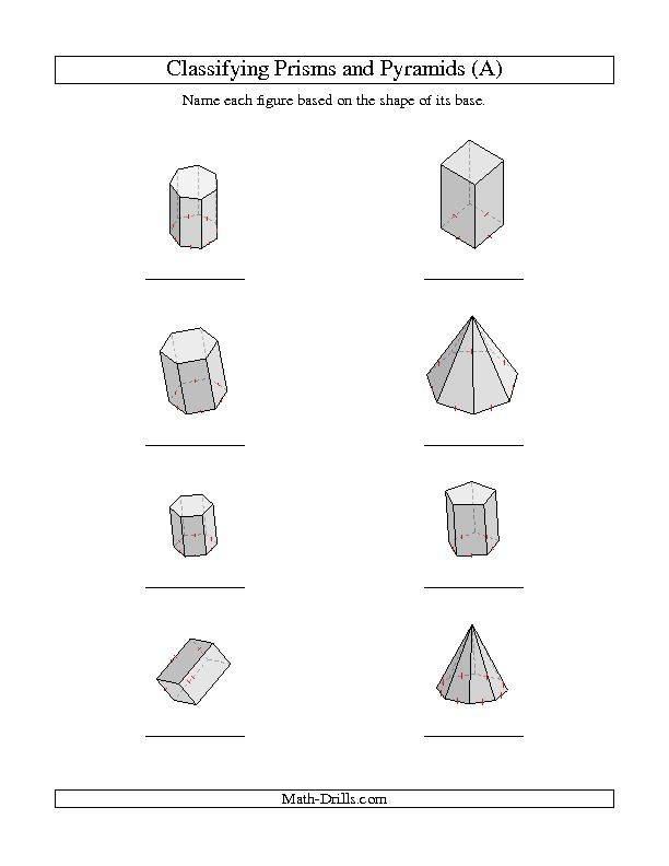 Classifying Prisms And Pyramids A Geometry Worksheet Shapes Worksheet Kindergarten Shapes Worksheets 3d Shapes Worksheets Volume of shapes worksheets