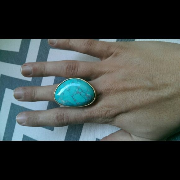 Baby blue and gold stone Big blue stone ring Jewelry