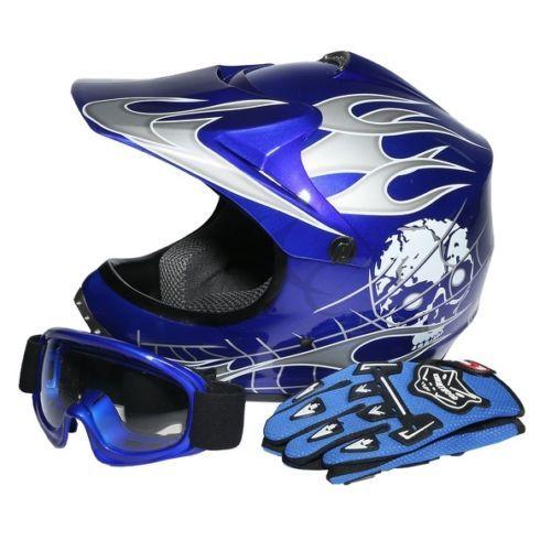 Youth Kids Blue Skull Dirt Bike Atv Motocross Atv Helmet Goggles Gloves S M L Bike Helmet Atv Motocross Helmet