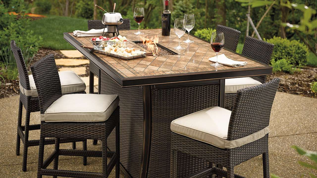 Palermo 7 Pc Counter Height Fire Table Set Patio Fire