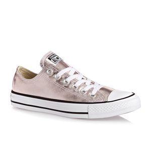 58cee20358a2 Converse Trainers - Converse Chuck Taylor All Star Metallic Canvas Ox Shoes  - Rose Quartz White Black
