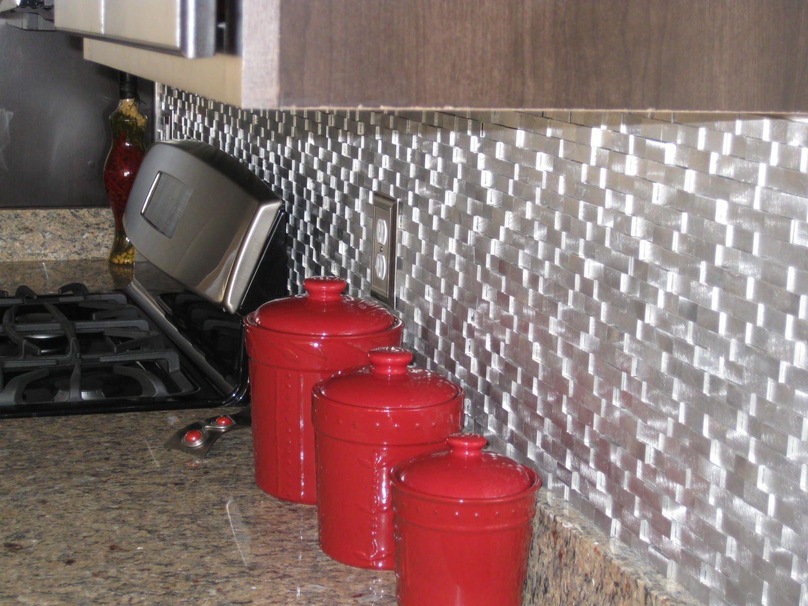 Raised Brick Pattern Aluminum Mosaic Tile