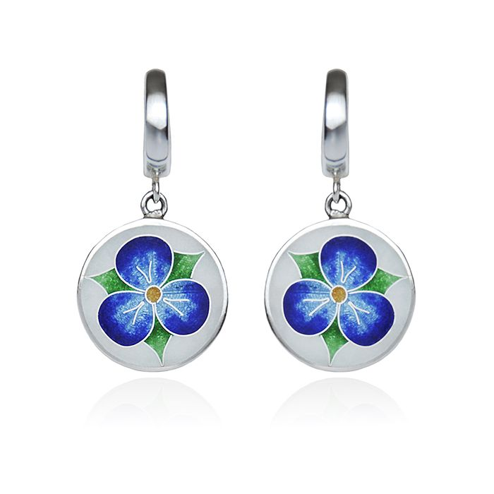 "Silver round earrings ,,flower viola"". Cloisonné enamel technique, silver, glass transperent enamel, sterling silver. Handmade."