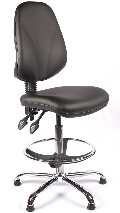 p the juno chrome vinyl high back draughtsman chair is a good