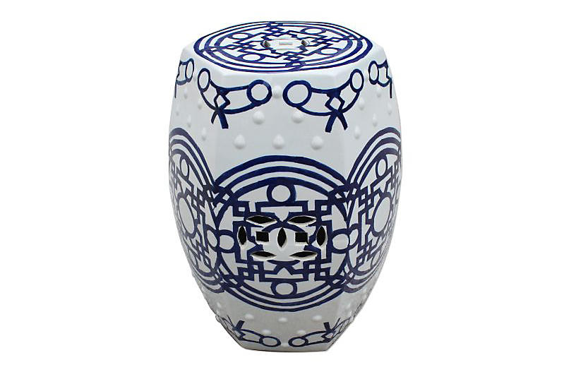 Hexagonal Garden Stool White Navy Ceramic Stool White