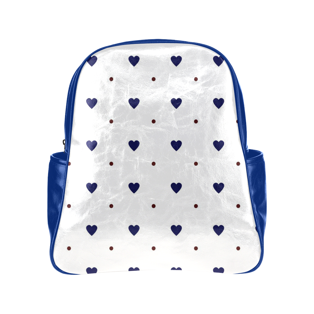blue hearts with red polka dots multi pockets backpack model 1636