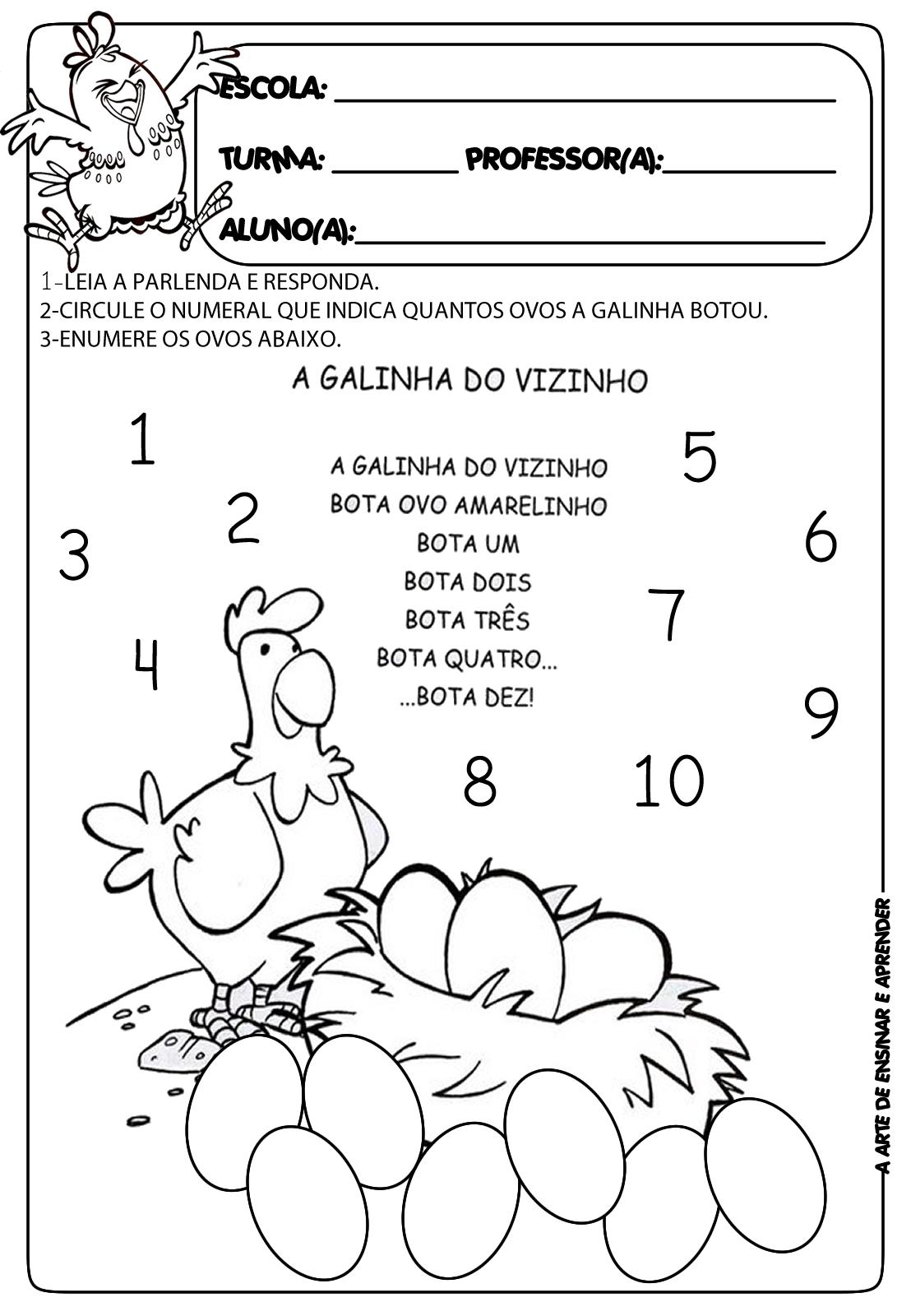 A Arte de Ensinar e Aprender: Atividade com parlenda A galinha do ...