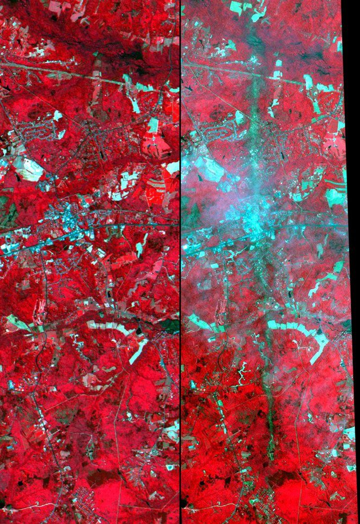 Pin for Later: The Climate Is Changing — and NASA Has the Proof Tornado, Maryland Left: May 21, 2001. Right: May 3, 2002. Source: NASA Images of Change