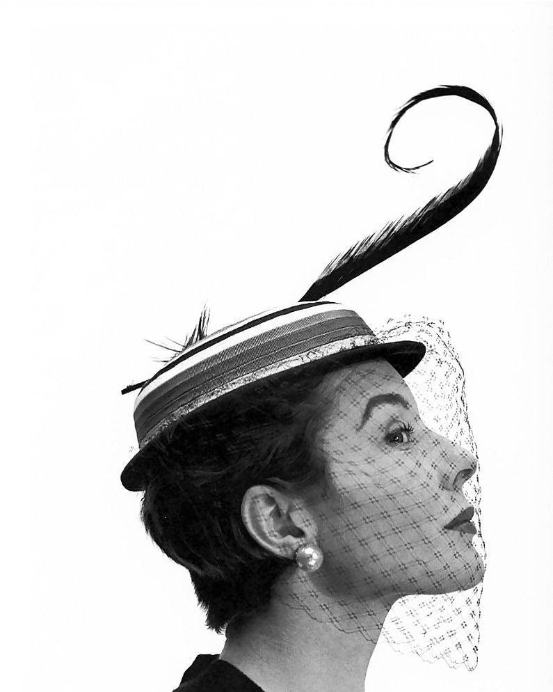 Wehadfacesthen: Bettina Graziani models a saucy hat for Georges Dambier, Paris, 1953 -