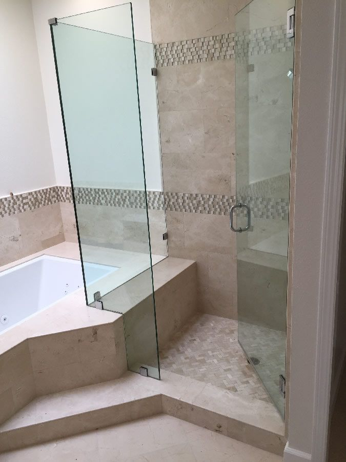 Installed half inch corner shower with cutout for tub. | 4126 ...