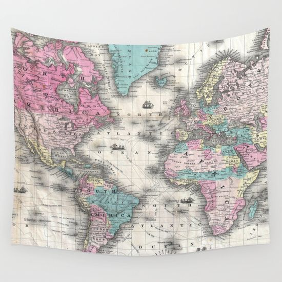 vintage map of the world wall tapestry
