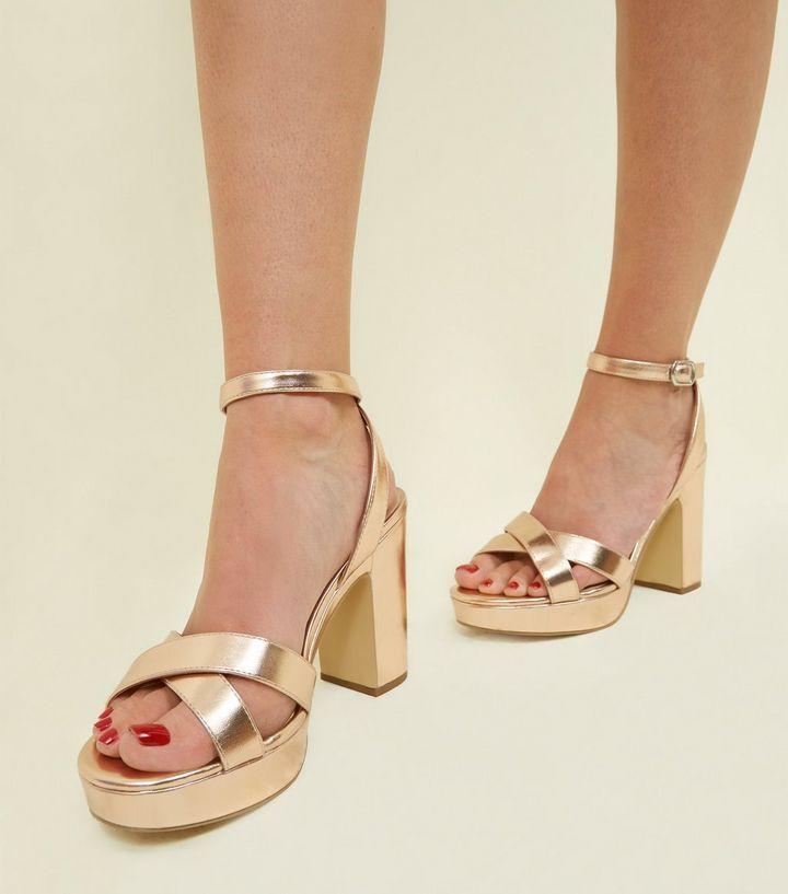 0a916afee29c Wide Fit Rose Gold Platform Sandals