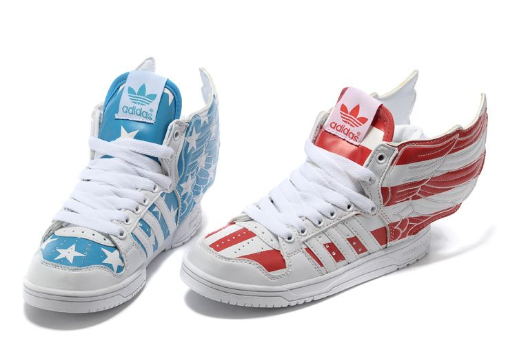 Adidas Blue Red Jeremy Scott Wings 2 0 Usa Flags Big Sales