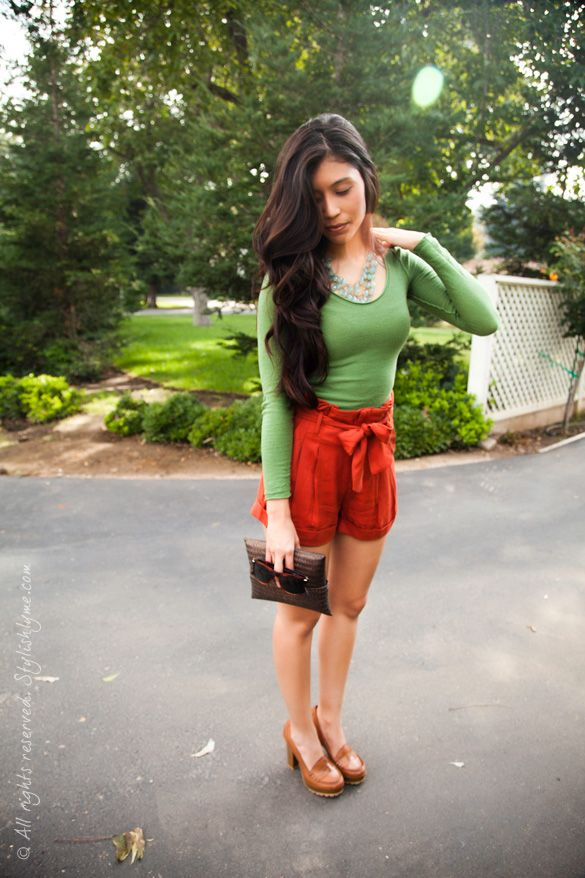 Fall Colors and High Heeled Loafers - http://stylishlyme.com