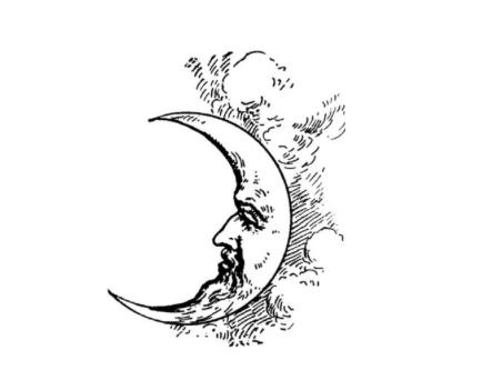 Vintage Moon Face Half Moon Tattoo Moon Tattoo Moon Drawing