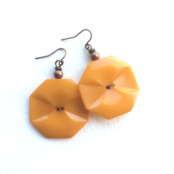 Funky Big Mustard Yellow Earrings from repurposed Vintage Buttons