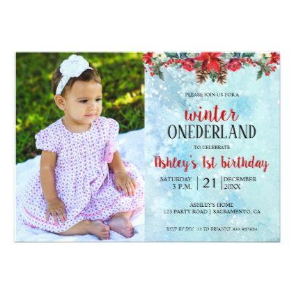 baby first birthday onederland winter invitation