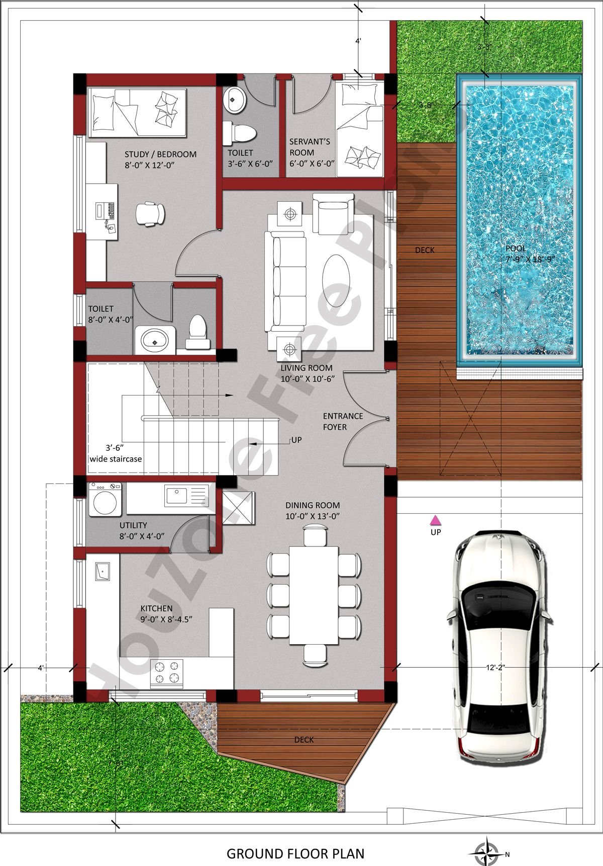 3 Bedroom Duplex House With Swimming Pool In 200 Sq Yards Plot Houzone Pool House Plans Duplex House Plans Luxury House Plans
