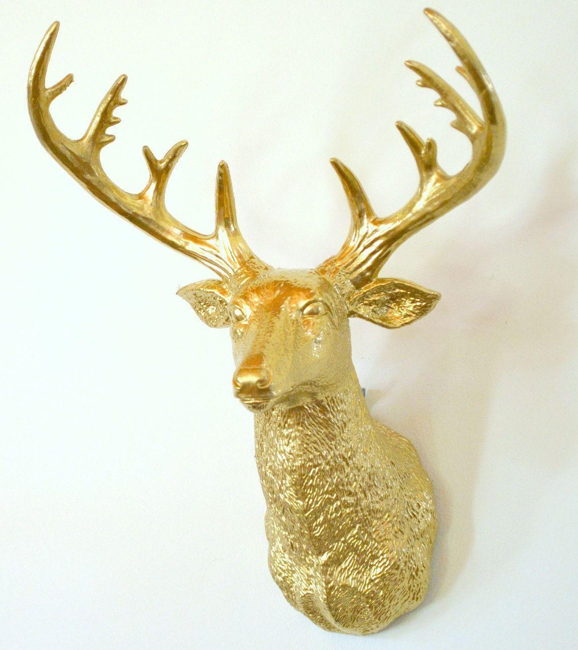 Faux Deer Head - Gold Deer Head | Products | Pinterest | Faux deer ...