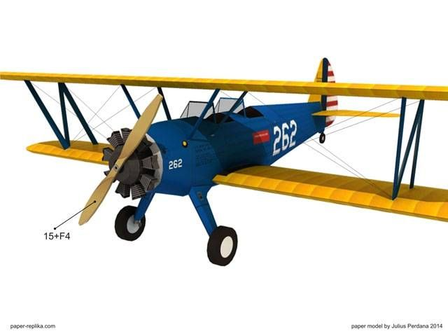 Boeing PT-17 Stearman - Army Trainer Plane Paper Model