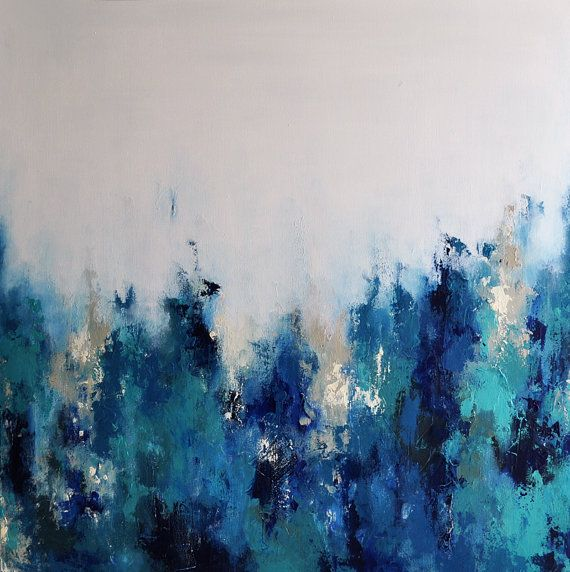Original Abstract Palette Knife Painting, Blue Grays ...