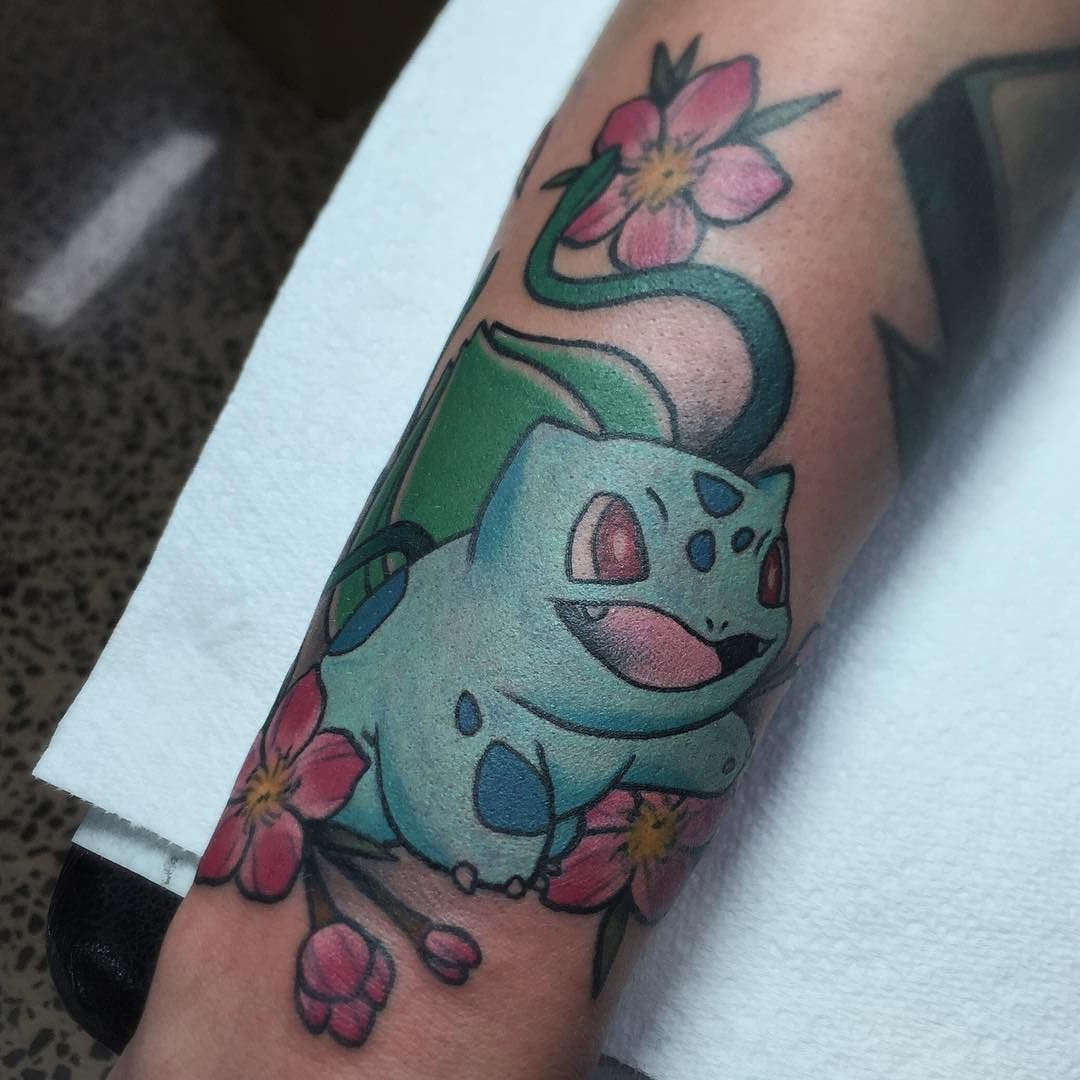 f6f4f1c68 Tattooed this Bulbasaur on @markweston_art next to a clean ass Gameboy  piece from @jessedeetattooer