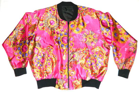 Vintage Versace Style Bomber Jacket By Reallydopevintage On Etsy 45 00 Vintage Versace Urban Wear Clothes