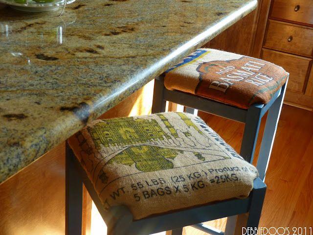 Awesome rice bag bar stools.