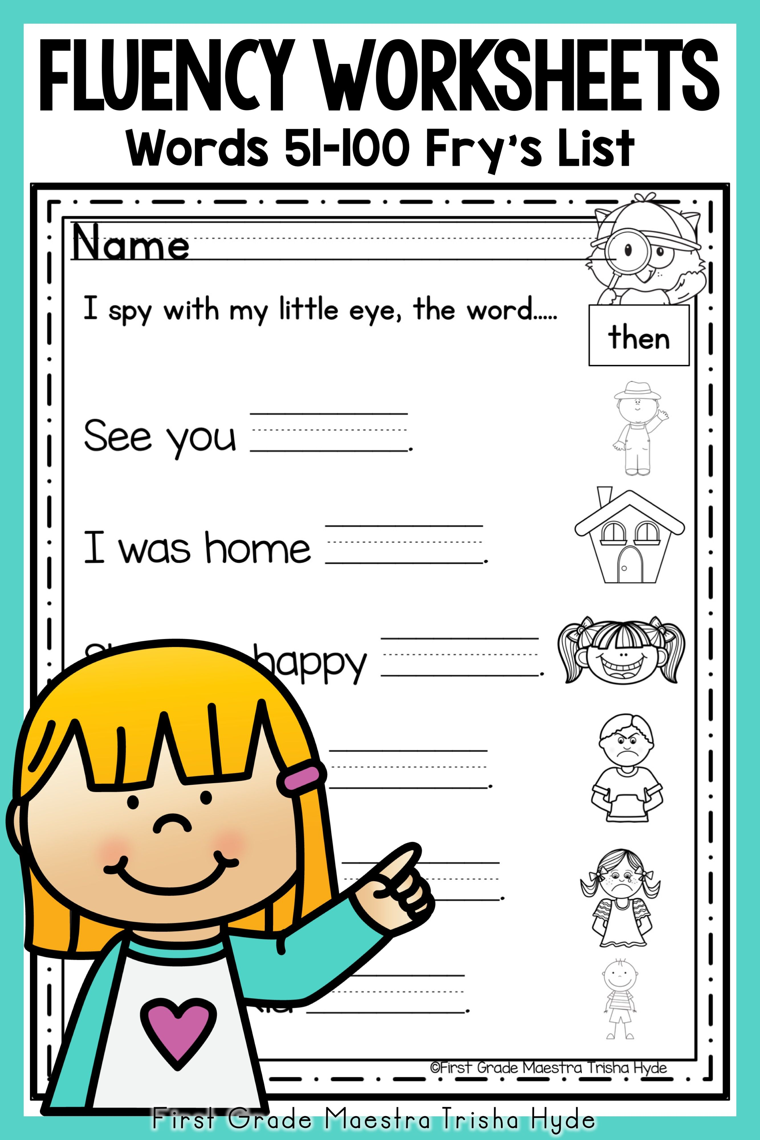 Sight Word Fluency Worksheets Fry S Words 51 100