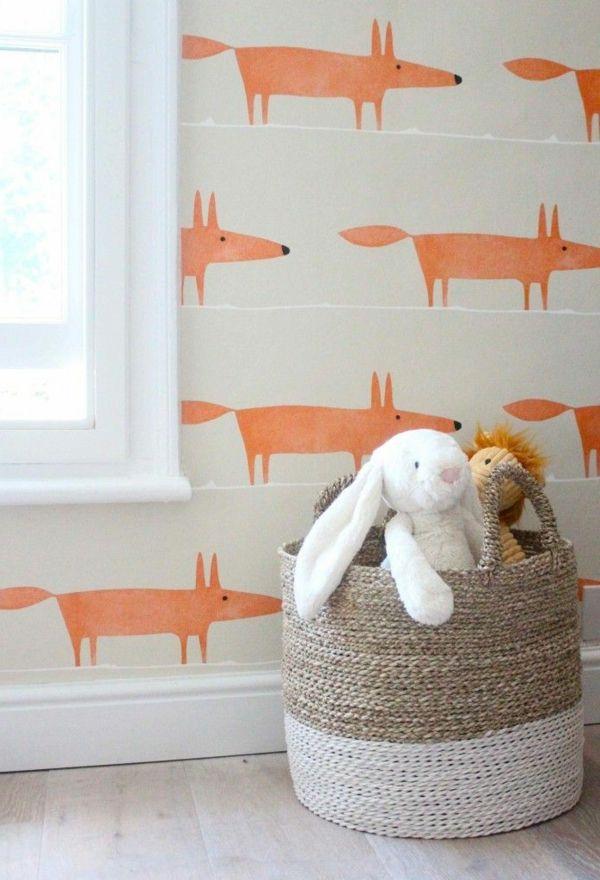 Kinderzimmer Babyzimmer Wandgestaltung Wandtapete Orange Füchse