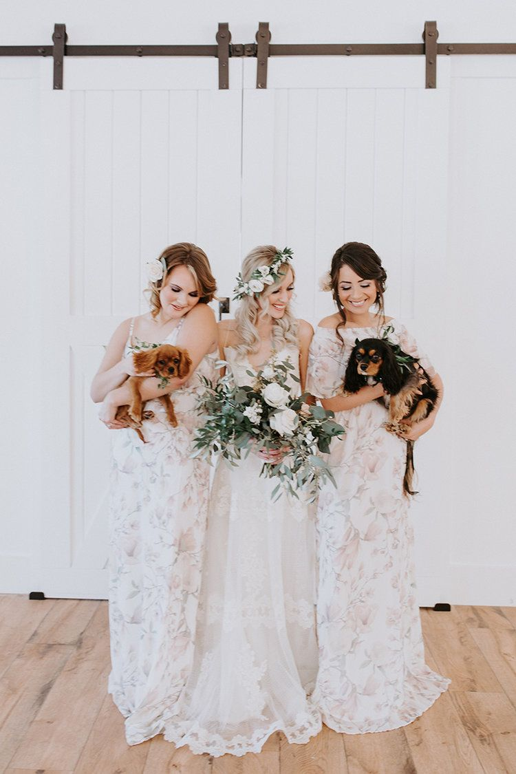 Winter Wedding With Greenery Details And Puppies Floral Crown