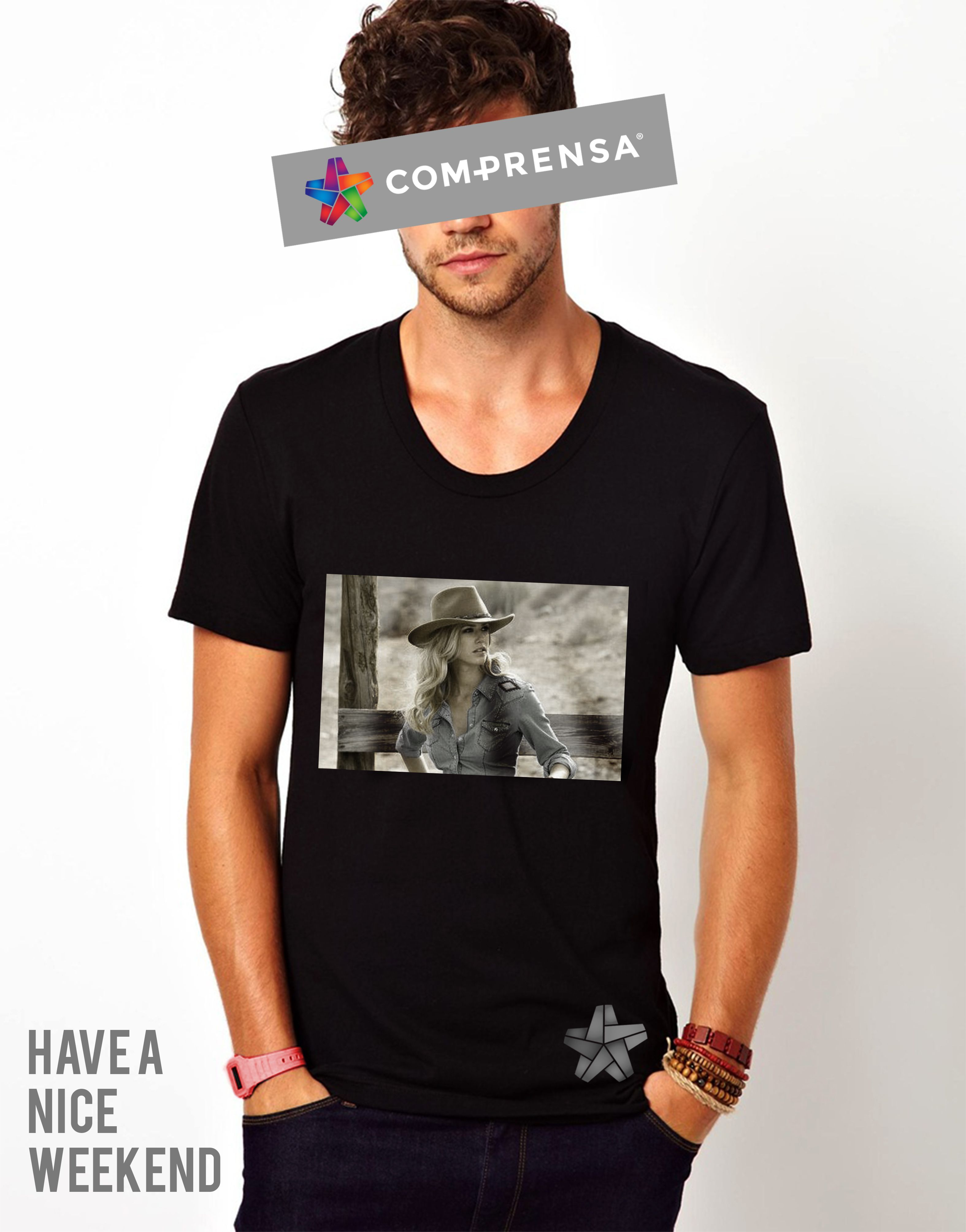 Made from cotton, this black t-shirt has a round neck and short sleeves, with a sépia print at chest depicting a cowgirl.  #comprensa #model #fashion #manufacturer #design #company #textile #portugal #jersey #fleece #cotton #bio #sublimation #screenprinting #digitalprint #laser #photoprint