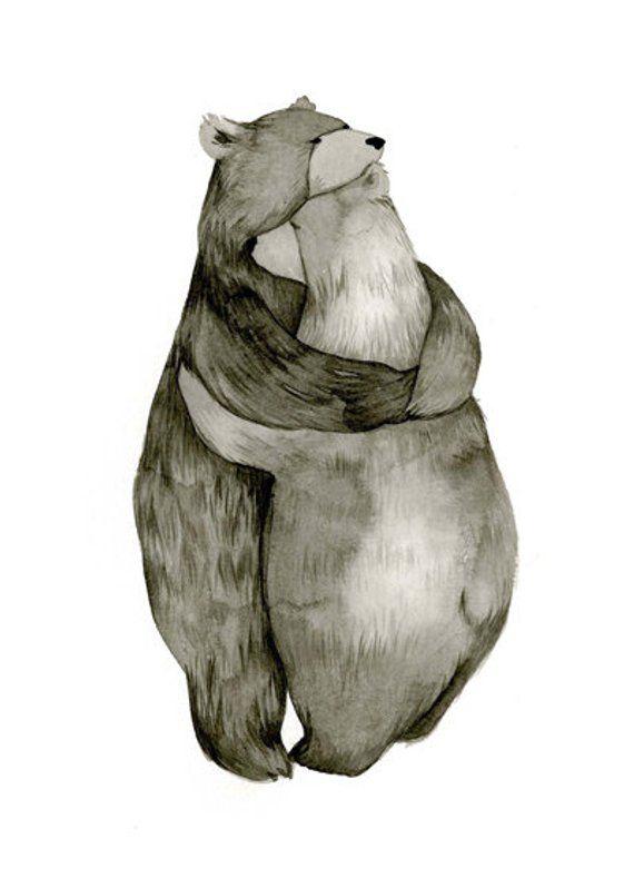 5x7 Bear Hug - Love - Original Illustration Print #bears
