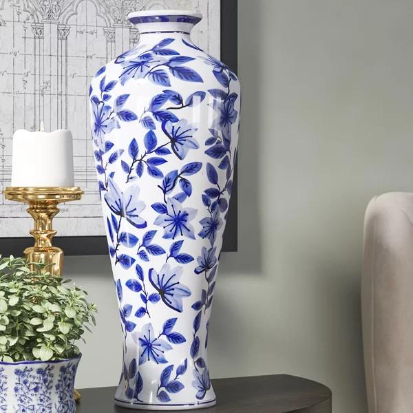 Rego Blue White 20 Ceramic Floor Vase Floor Vase Blue Vases Decor Asian Vase Decor