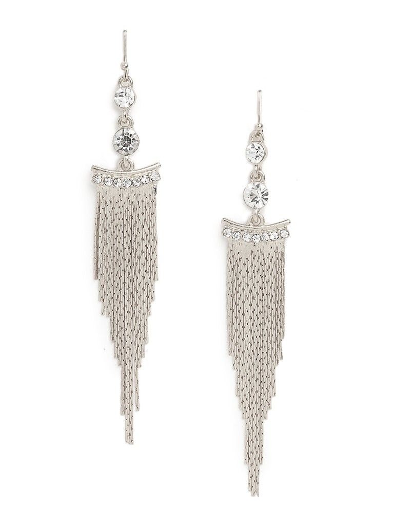 Tap into the exotic, over-the-top glamour of Cleopatra with these stunning drop earrings. They're crafted from luxe crystals that fall to a gorgeous cascade of lush fringe.