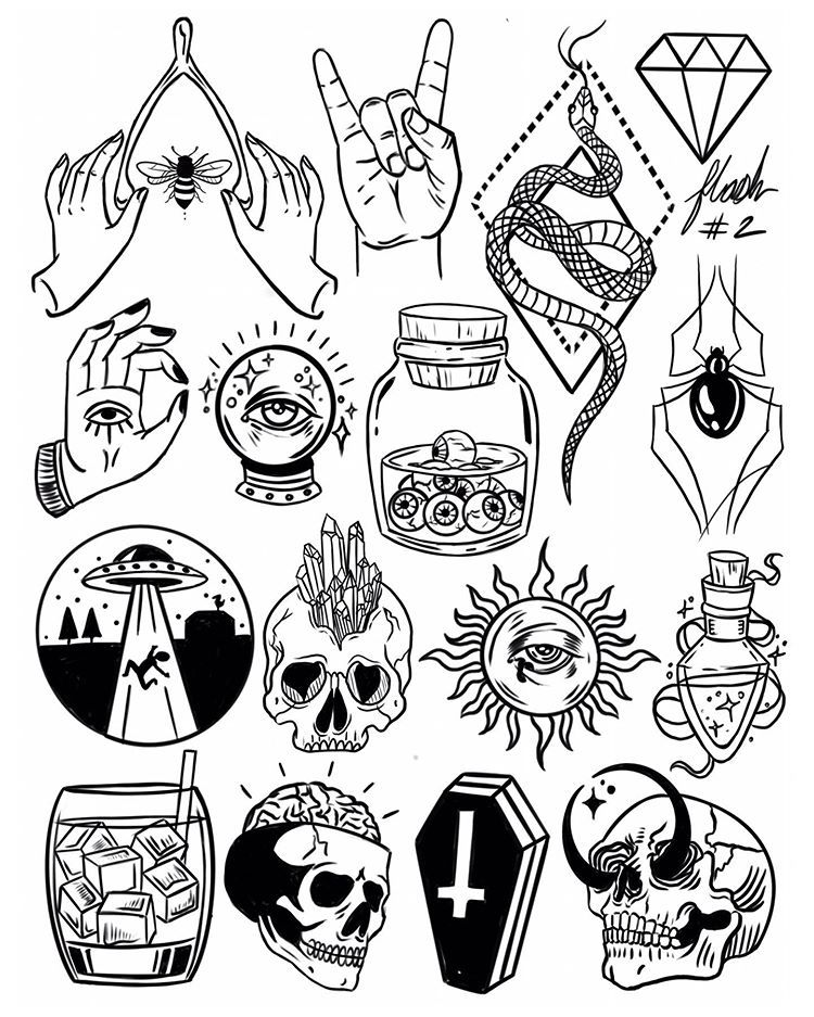 """Photo of 𝒮𝒽𝒶𝓃𝑒𝓁𝓁 𝒮𝓃𝑒𝓁𝓁𝒷𝒶𝓀𝑒𝓇 on Instagram: """"Thank you everyone that participated in my flash tattoo sale and helped me to promote and celebrate the new flash sheets!! These designs…"""""""